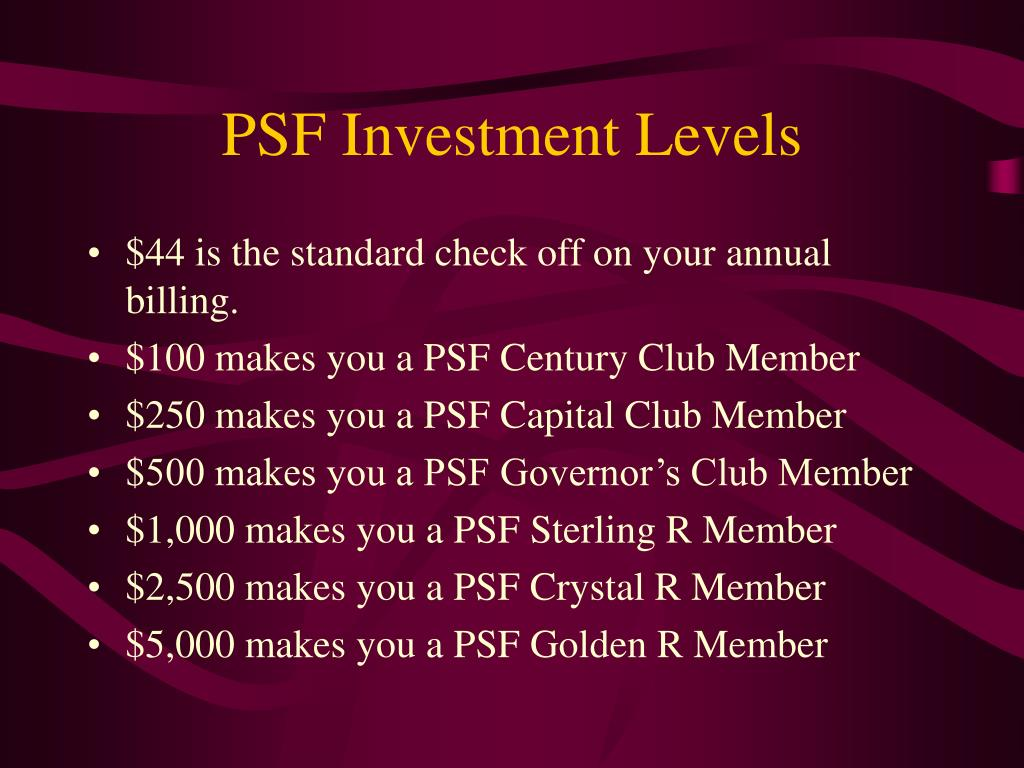 PSF Investment Levels