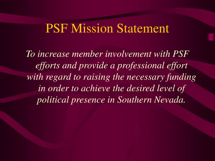 Psf mission statement