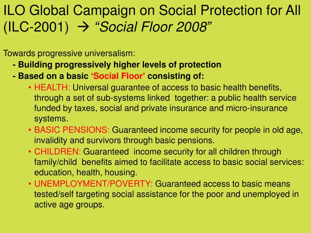 ILO Global Campaign on Social Protection for All (ILC-2001)