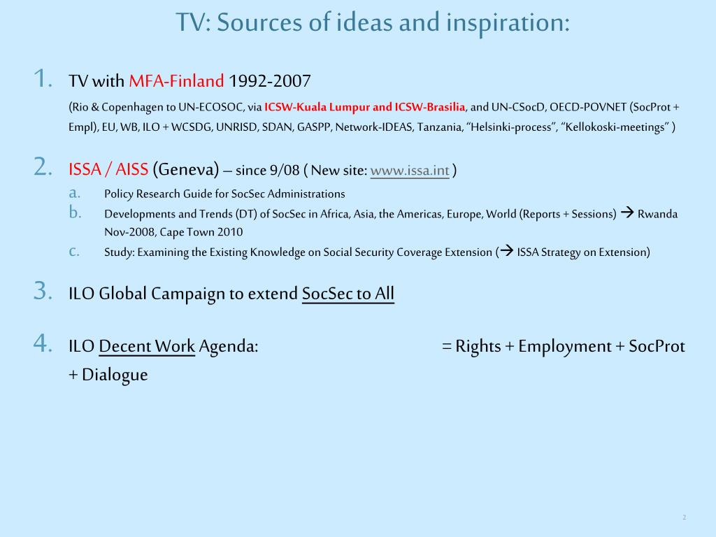 TV: Sources of ideas and inspiration: