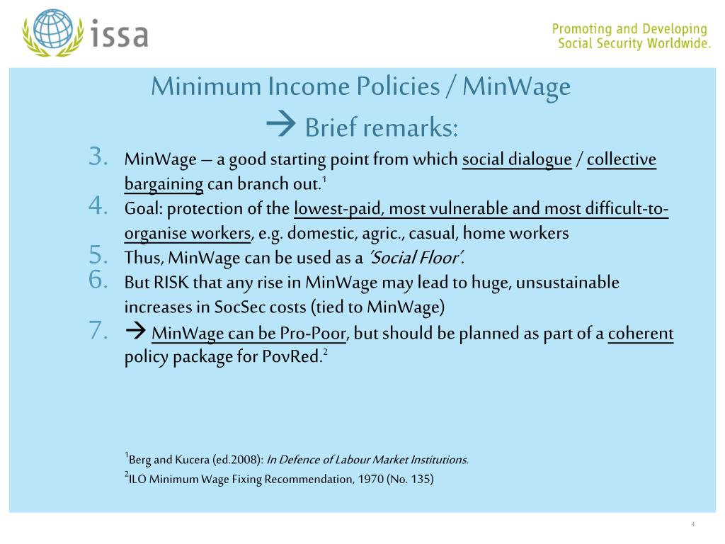 Minimum Income Policies / MinWage