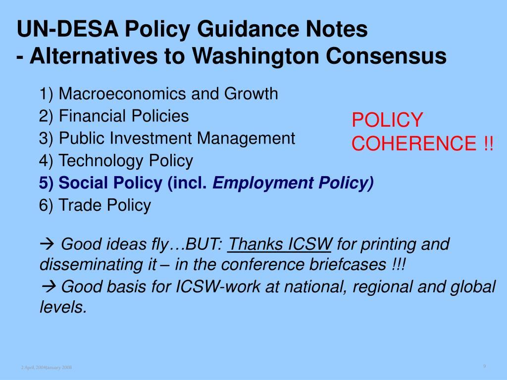 UN-DESA Policy Guidance Notes