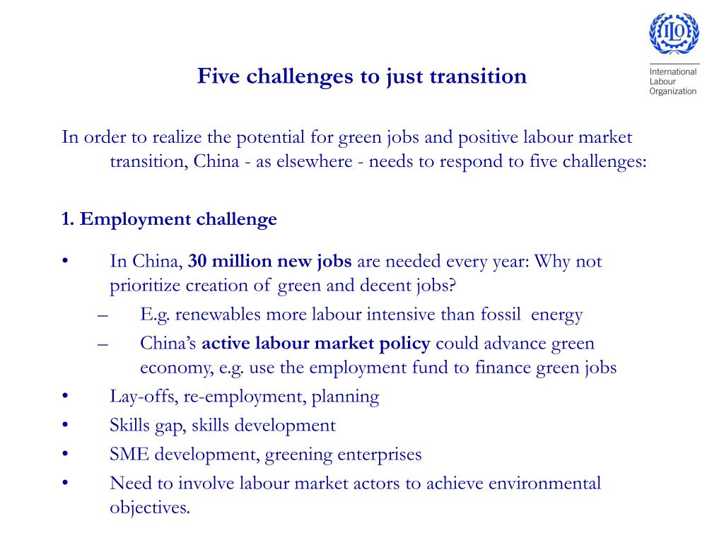 Five challenges to just transition