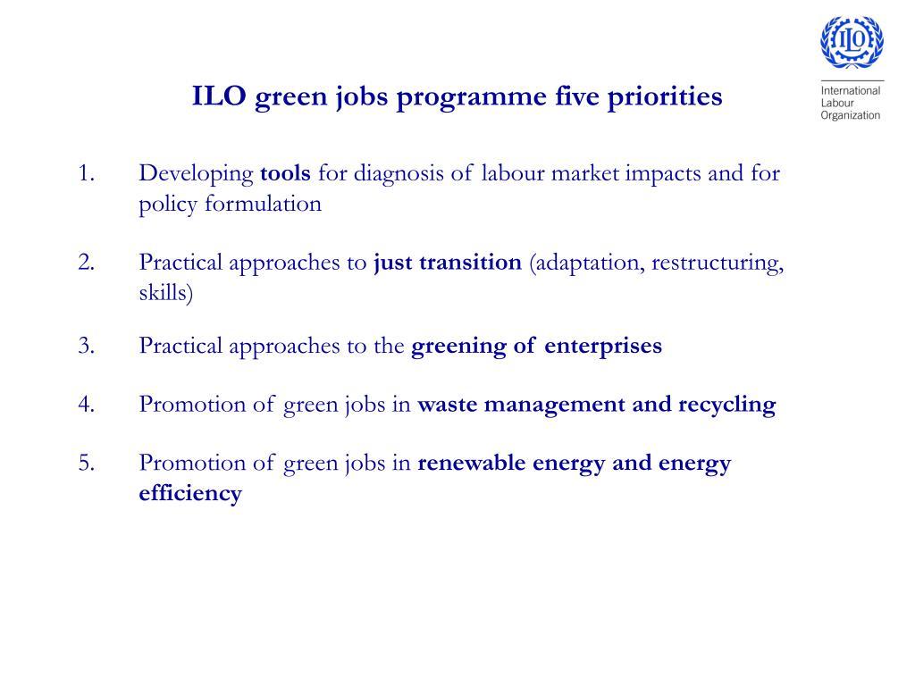 ILO green jobs programme five priorities