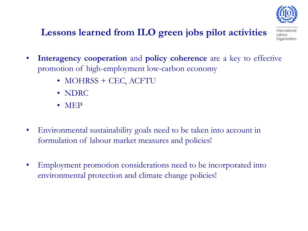 Lessons learned from ILO green jobs pilot activities