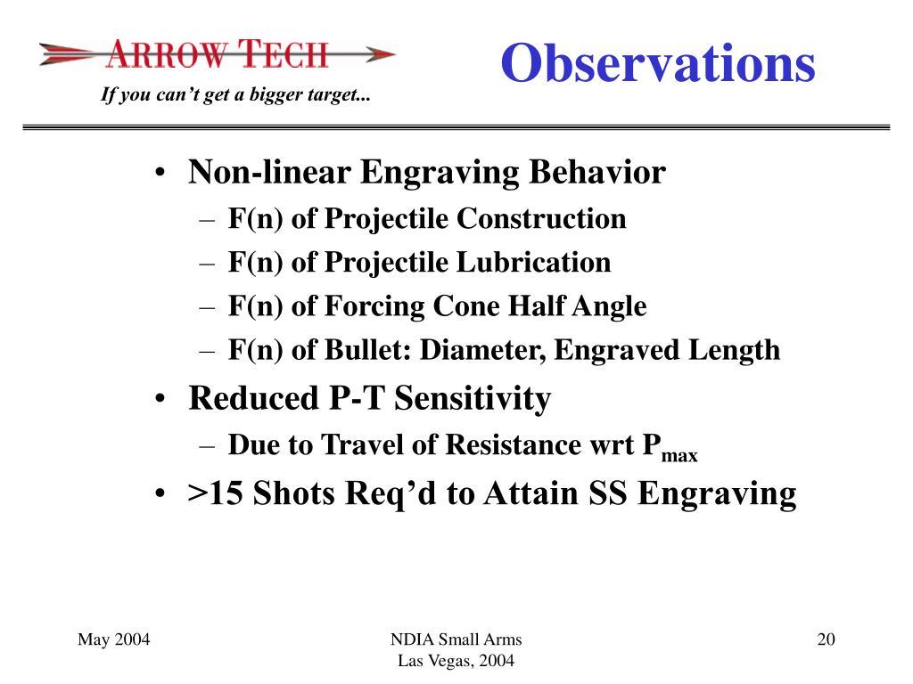Non-linear Engraving Behavior
