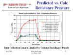 predicted vs calc resistance pressure