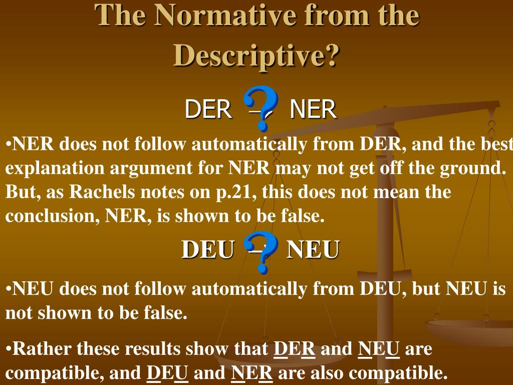 The Normative from the Descriptive?