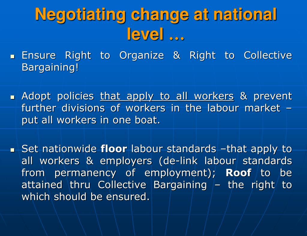 Negotiating change at national level