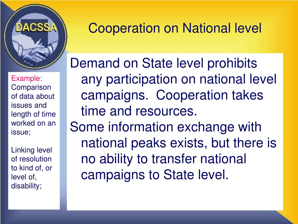 Cooperation on National level