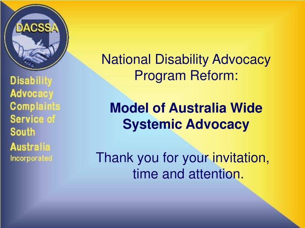 National Disability Advocacy Program Reform: