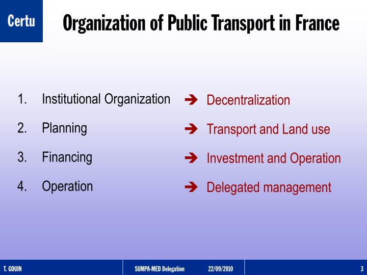 Organization of public transport in france