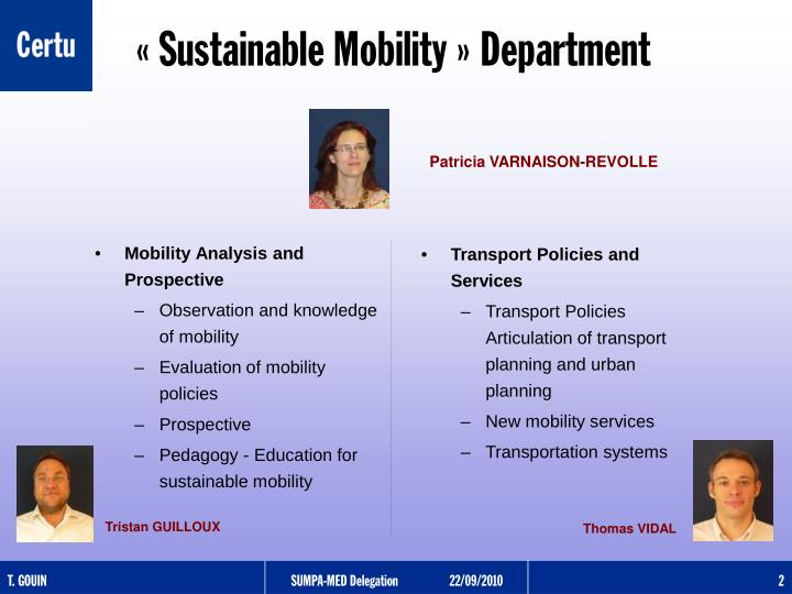Sustainable mobility department