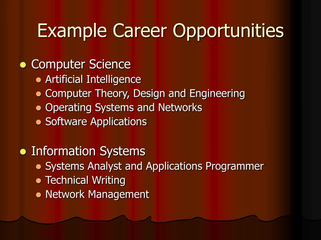 Example Career Opportunities