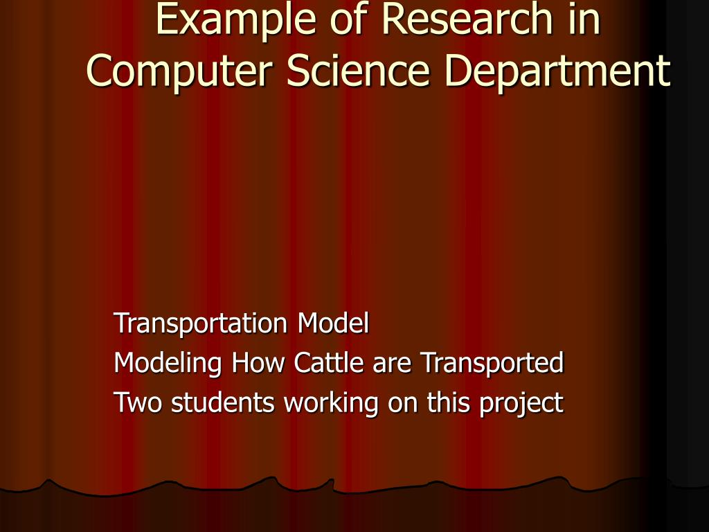 Example of Research in Computer Science Department