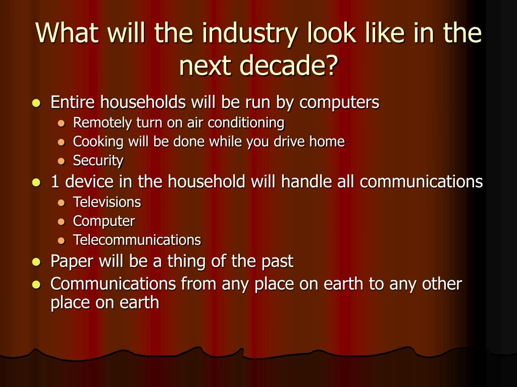 What will the industry look like in the next decade?