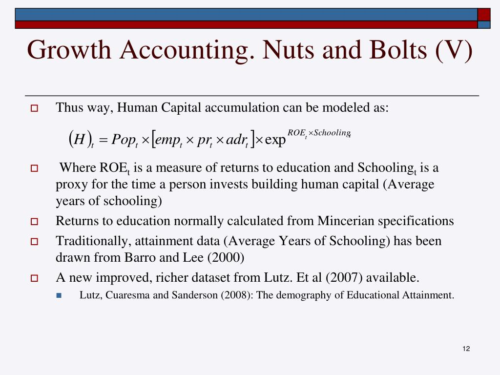 Growth Accounting. Nuts and Bolts (V)