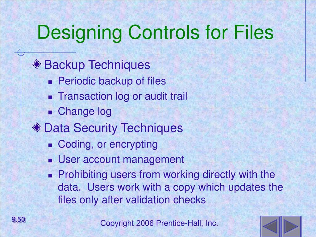 Designing Controls for Files