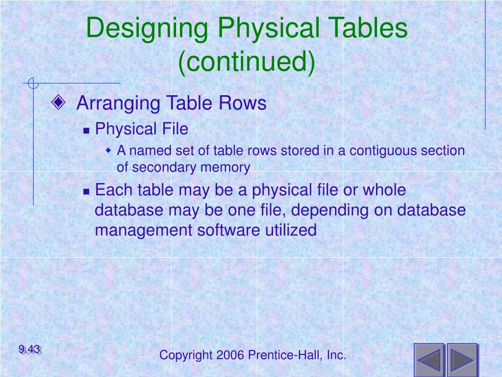 Designing Physical Tables (continued)