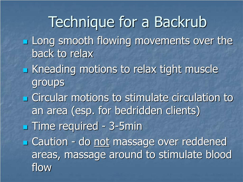 Technique for a Backrub