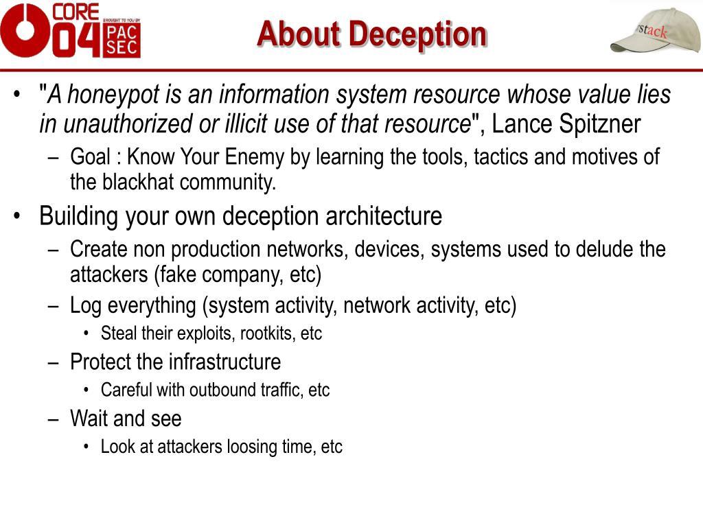 About Deception
