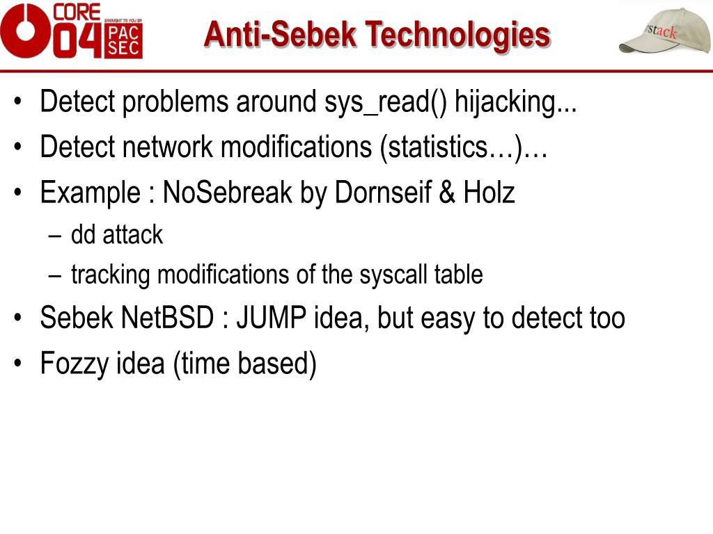Anti-Sebek Technologies