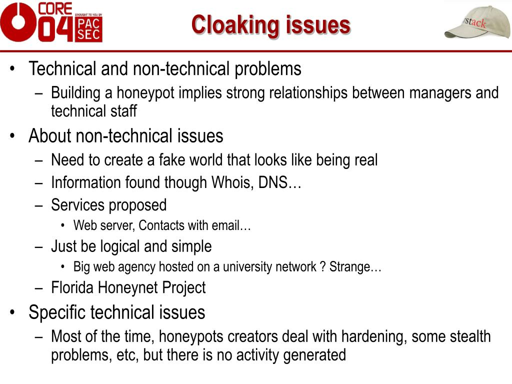 Cloaking issues