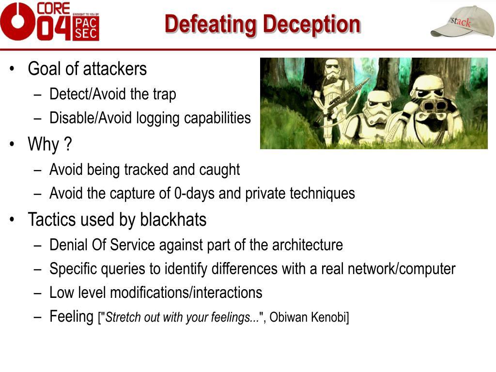 Defeating Deception