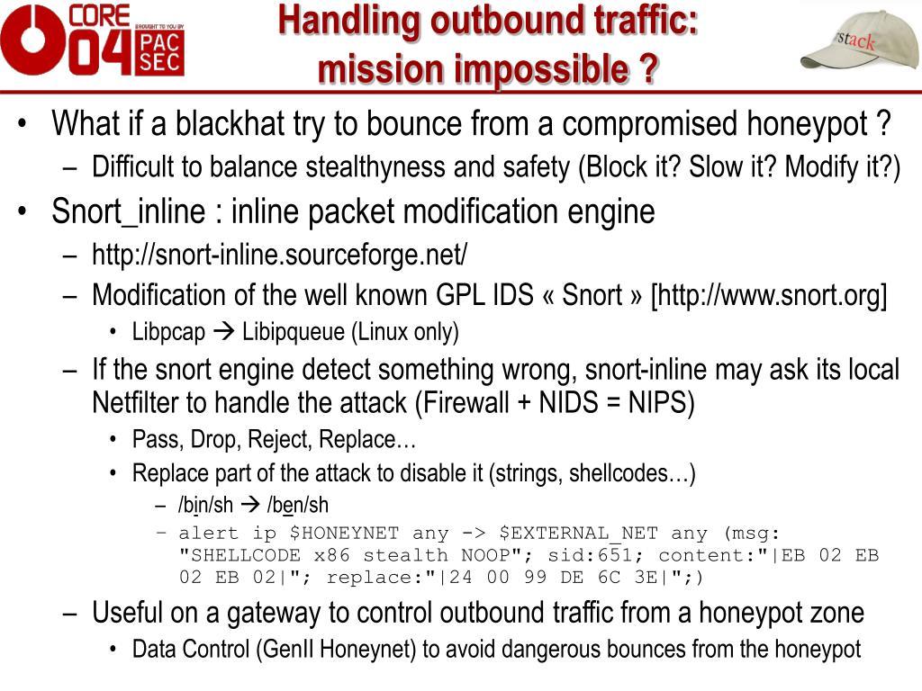 Handling outbound traffic:
