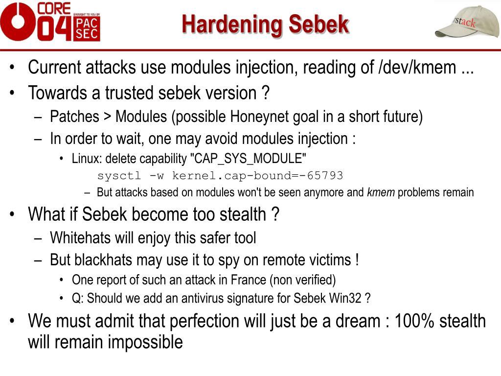 Hardening Sebek