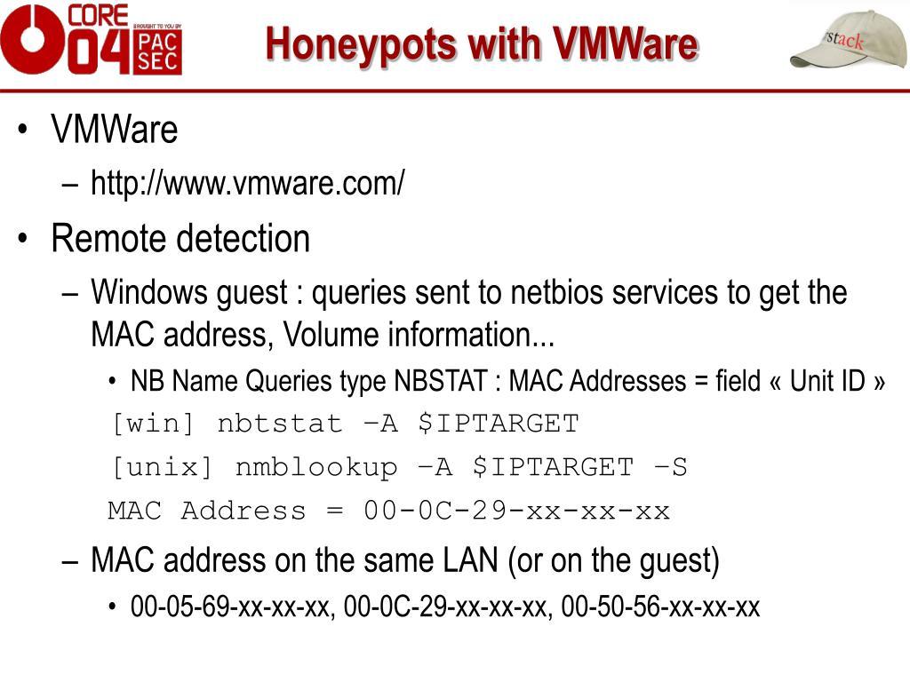 Honeypots with VMWare