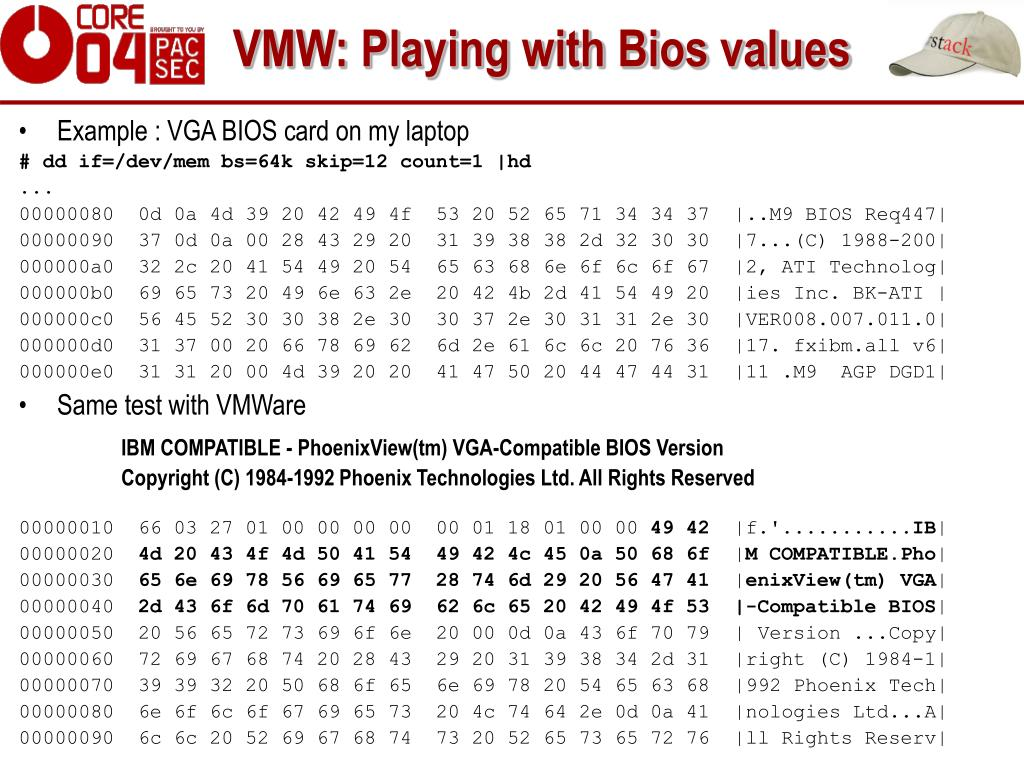 VMW: Playing with Bios values