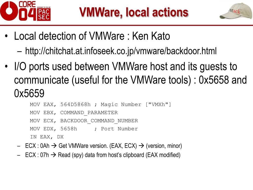 VMWare, local actions