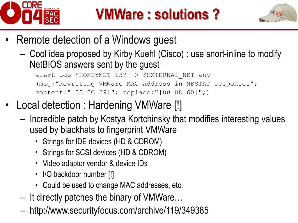 VMWare : solutions ?