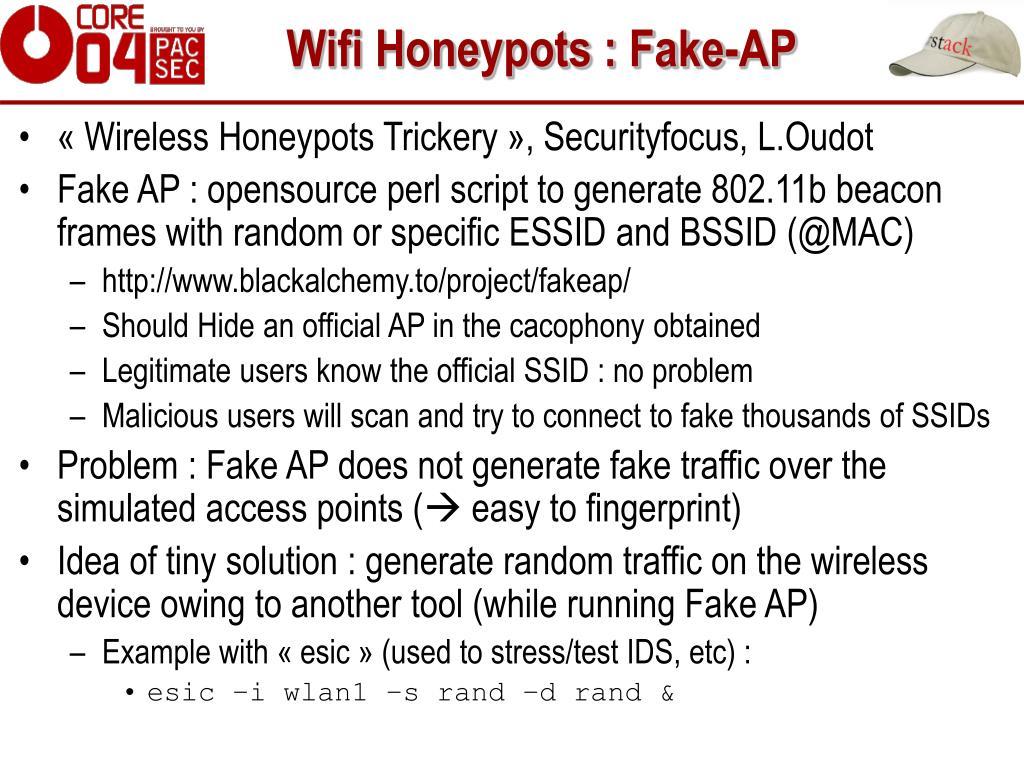 Wifi Honeypots : Fake-AP