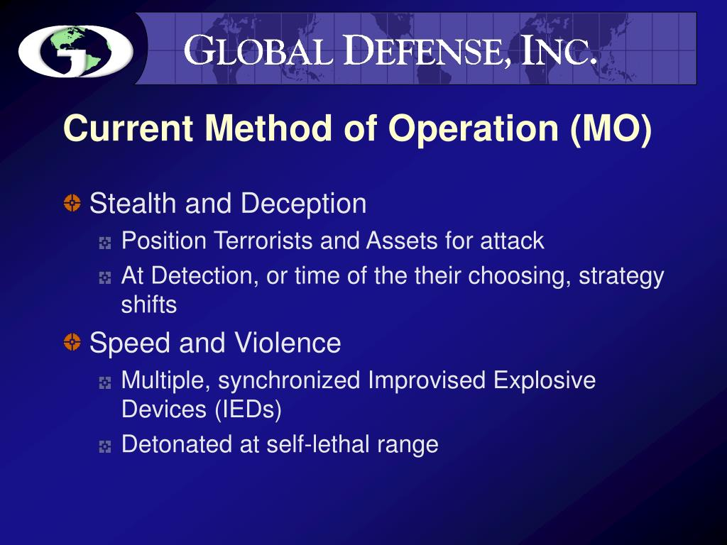 Current Method of Operation (MO)
