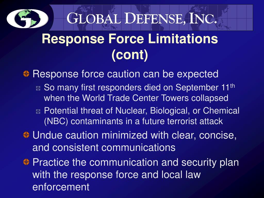 Response Force Limitations (cont)