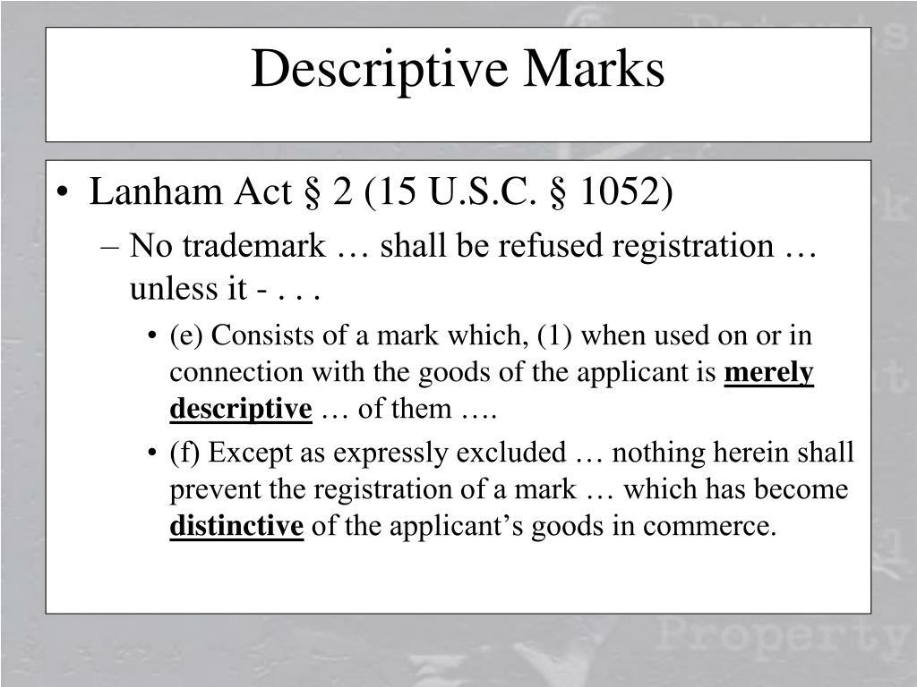 Lanham Act § 2 (15 U.S.C. § 1052)