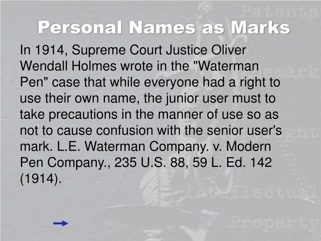 Personal Names as Marks