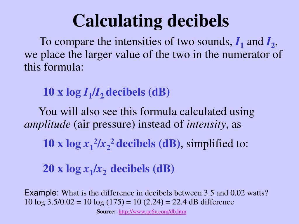Calculating decibels