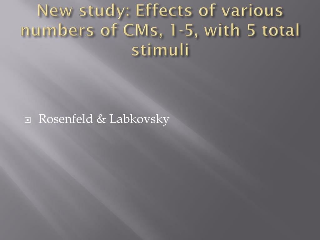 New study: Effects of various numbers of CMs, 1-5, with 5 total stimuli