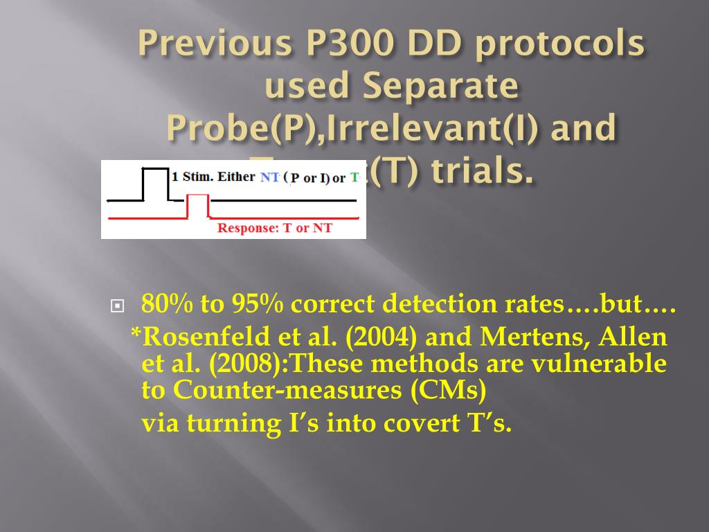 Previous P300 DD protocols used Separate Probe(P),Irrelevant(I) and Target(T) trials.