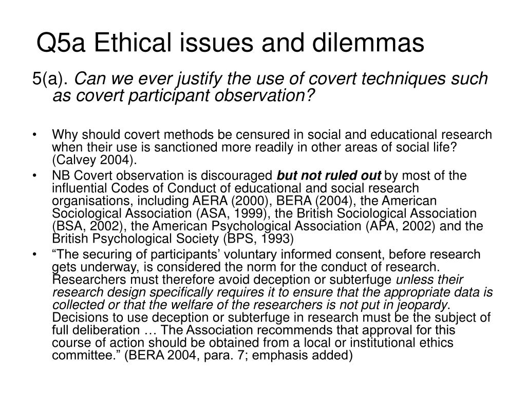 Q5a Ethical issues and dilemmas