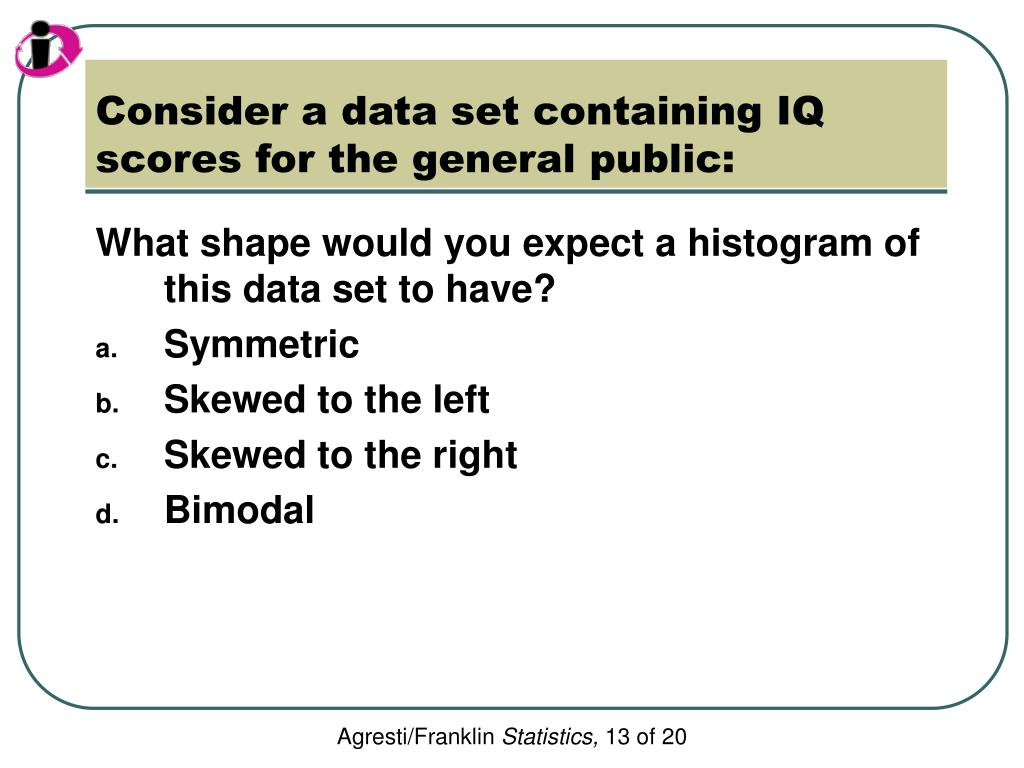 Consider a data set containing IQ scores for the general public: