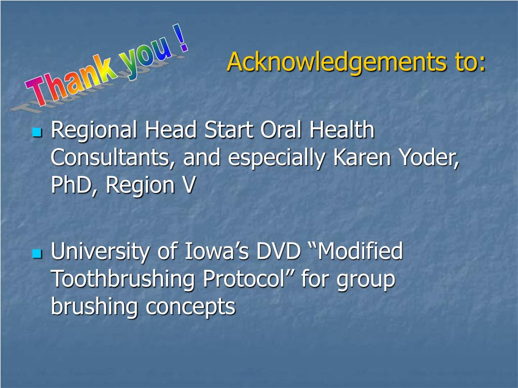 Acknowledgements to: