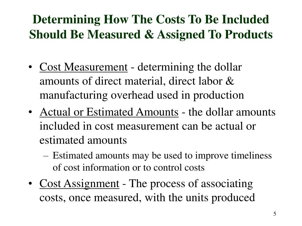 Determining How The Costs To Be Included Should Be Measured & Assigned To Products
