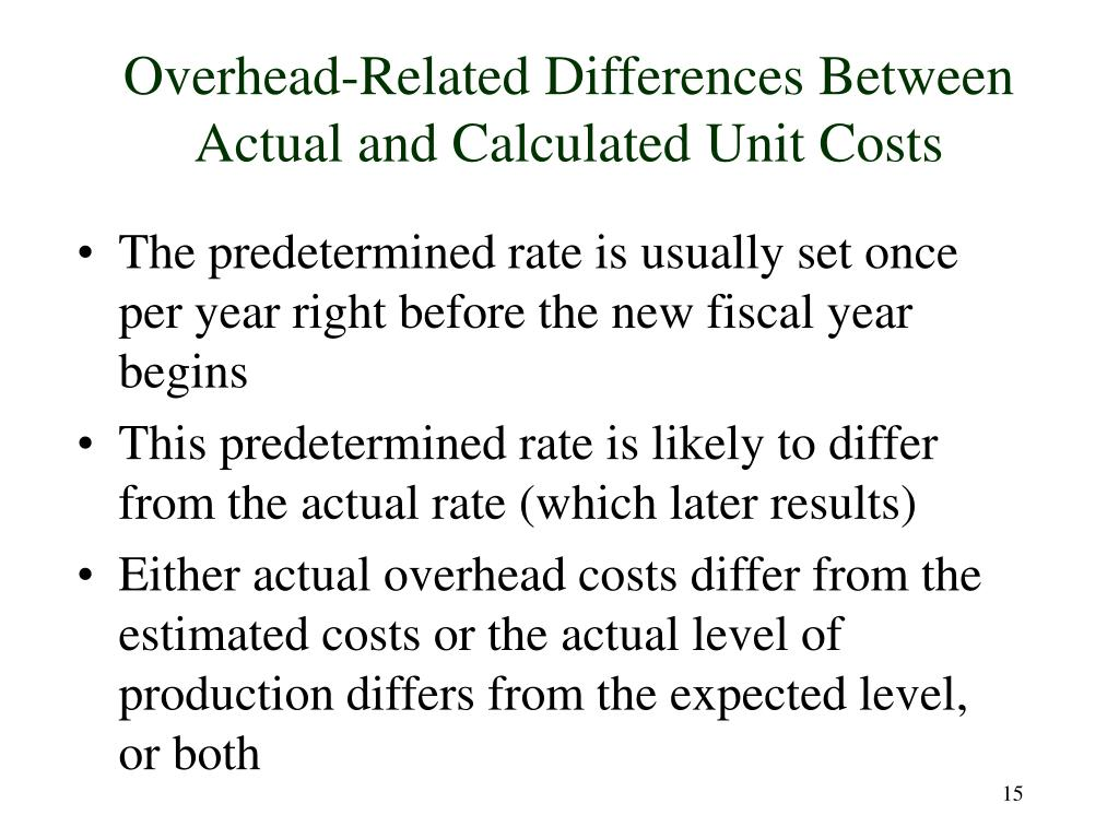 Overhead-Related Differences Between Actual and Calculated Unit Costs