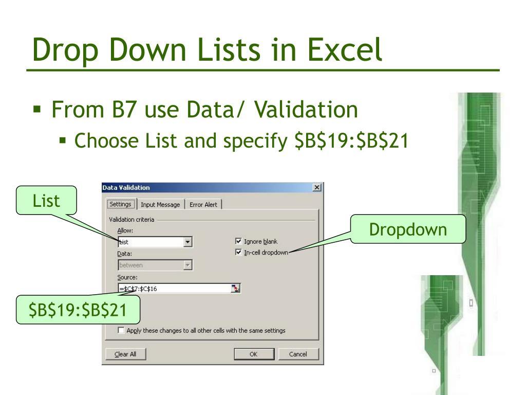 Drop Down Lists in Excel