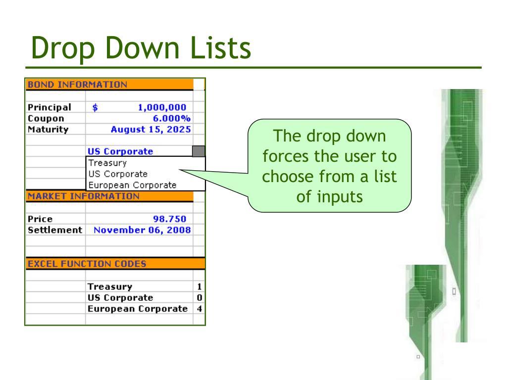 Drop Down Lists