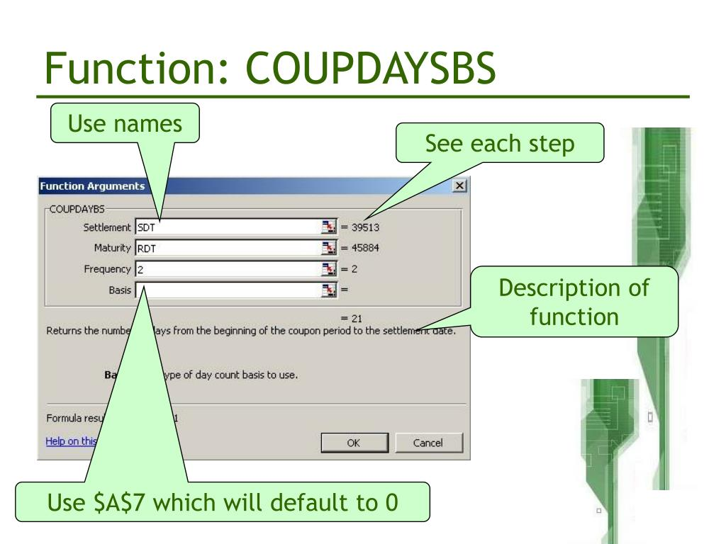 Function: COUPDAYSBS